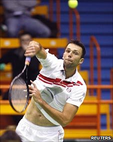 Ivo Karlovic in action for Croatia