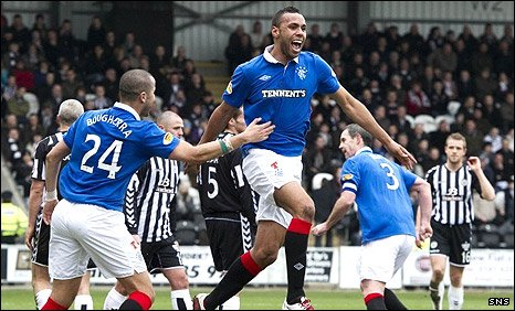 Kyle Bartley celebrates his first goal for Rangers