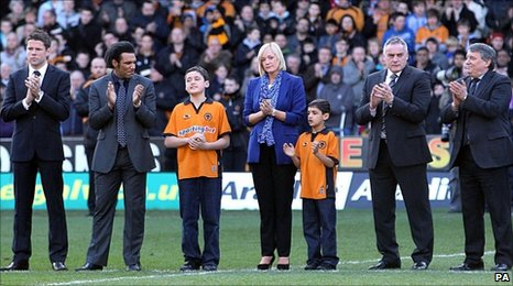 James Beattie, Don Goodman, Richards' widow Samantha, sons Rio and Jaden, Dave Jones and Graham Taylor pay tribute