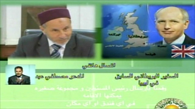 Libyan State TV broadcast of the UK ambassador to Libya talking to a rebel spokesman