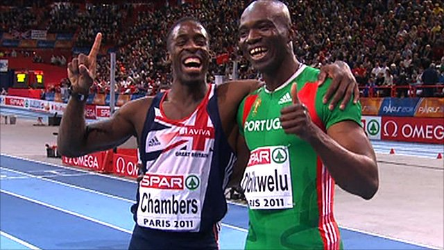 Great Britain&amp;apos;s Dwain Chambers wins silver as Portugal&amp;apos;s Francis Obikwelu
