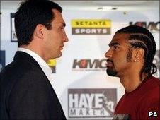 Wladimir Klitschko (left) and David Haye (right)
