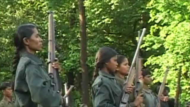 Maoist insurgents in training