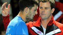 James Ward and Davis Cup captain Leon Smith