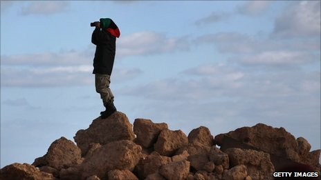 Libyan rebel lookout in Bin Jawad (6 March 2011)