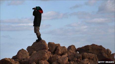 Libyan rebel lookout in Bin Jawad (6 March 2011)