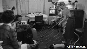 Generic picture of a woman doing housework in 1957