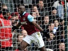 Demba Ba celebrates scoring for West Ham