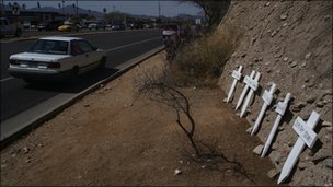 Makeshift memorial across the road from the Tucson Safeway where the shooting took place 
