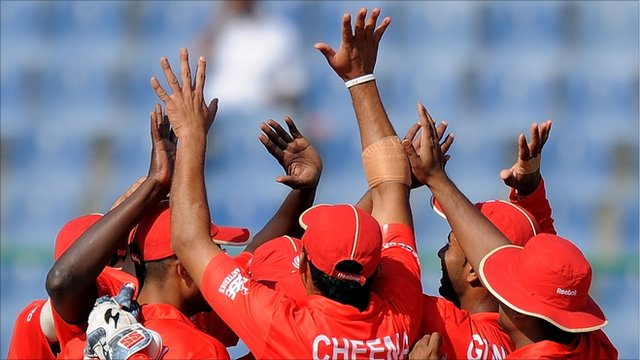 The Canadian cricket team celebrate their win over Kenya