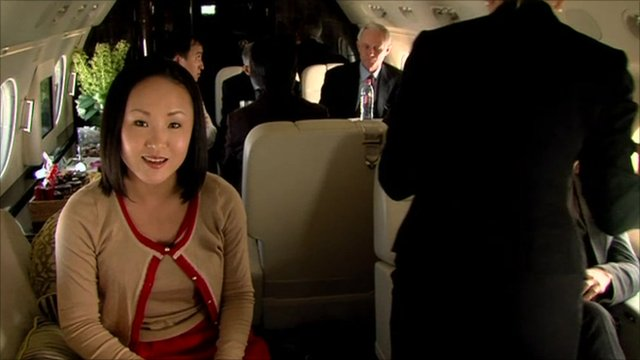 The BBC's Mariko Oi climbs aboard a private jet as she explores the growing demand for business travel in Asia.