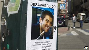 "A ""missing"" poster in Madrid for US student Austin Taylor Bice, 6 March"