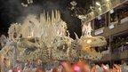 Revellers of the Uniao da Ilha samba school participate in the second night of the annual Carnival parade in Rio de Janeiro's Sambadrome
