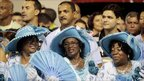 Revellers of the Beija-flor samba school participate in the second night of the annual Carnival parade in Rio de Janeiro's Sambadrome, 7 March, 2011