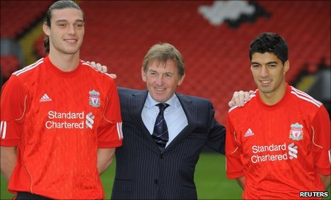 Andy Carroll, Kenny Dalglish and Luis Suarez