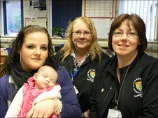 Roxanne with her daughter, Mel Sinnott and Yvonne Ancliffe both SKDC anti social behavior co-ordinators
