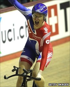 Sarah Storey celebrates team pursuiit victory