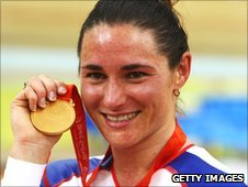 Sarah Storey celebrates one of her gold medals in Beijing