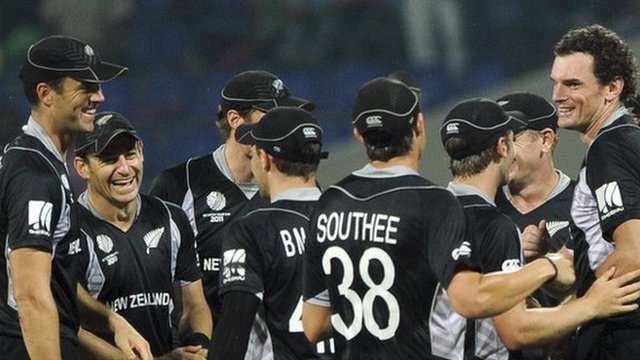 New Zealand cricket team celebrate