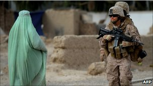 US marine and Afghan woman in Helmand province