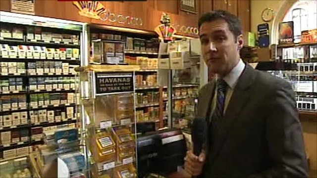Anthony Bartram at a tobacconist