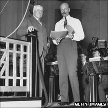 Sir Edward Elgar (l) with Sir Adrian Boult at Abbey Road in 1932