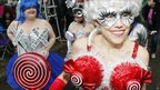 Women dressed in costumes for the annual Mardi Gras parade