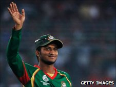 Shakib Al Hasan waves to the crowd during the opening game of the Cricket World Cup against India