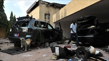 A ransacked house belonging to an Alassane Ouattara supporter