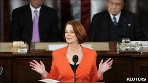 Julia Gillard address the US Congress