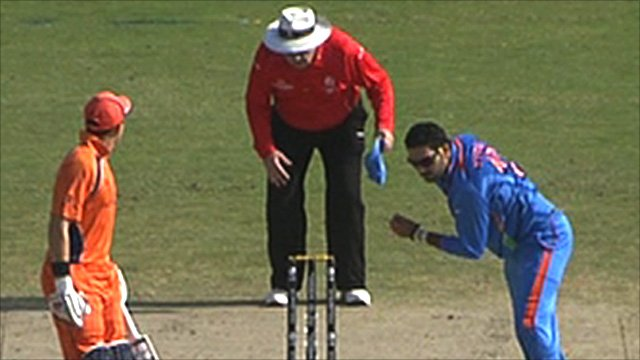 Yuvraj Singh bowling against the Netherlands in New Delhi