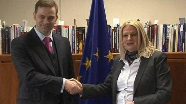Serbian negotiator Borko Stefanovic with Kosovo's negotiator, Edita Tahiri