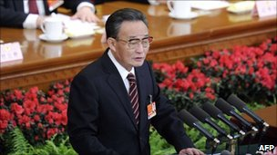 Wu Bangguo speaks to the NPC on 10 March 2011