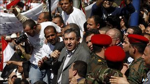 Essam Sharaf addresses crowds in Tahrir Square