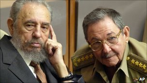 Fidel Castro (left) and Raul Castro (right) in a file photo from 2004