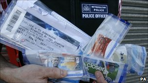 Tickets recovered from a suspected ticket tout