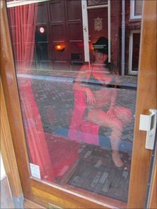 A window in Amsterdam's Red Light District