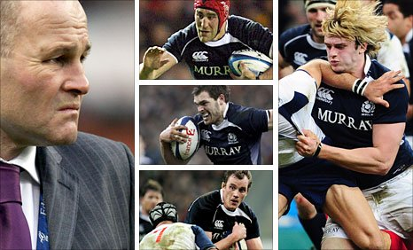 Clockwise (from left): Scotland coach Andy Robinson, number eight Kelly Brown, second row Richie Gray, captain Alastair Kellock, centre Sean Lamont