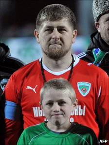 Chechnyan President Ramzan Kadyrov before an exhibition football match in Grozny on 8 March, 2011
