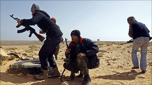 Opposition fighters in Libya
