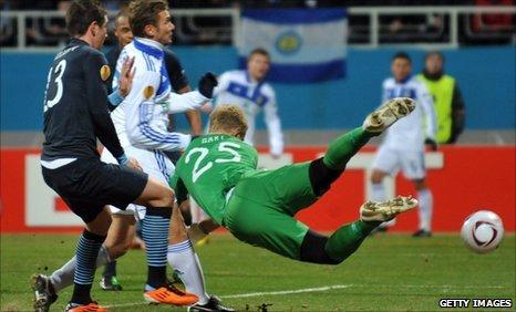 Andriy Shevchenko puts Dynamo Kiev ahead against Manchester City