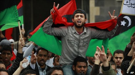 Libyans protest against the Gaddafi government in Benghazi, 10 March