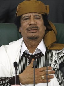 Col Muammar Gaddafi speaks to supporters in Tripoli, 2 March