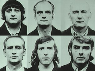 Birmingham Six in custody in the 1970s. picture of the men in custody in the 1970s. L to R (top) Paddy Hill, Hugh Callaghan, Johnny Walker. L to R (bottom) Richard McIlkenny, Gerry Hunter and Billy Power