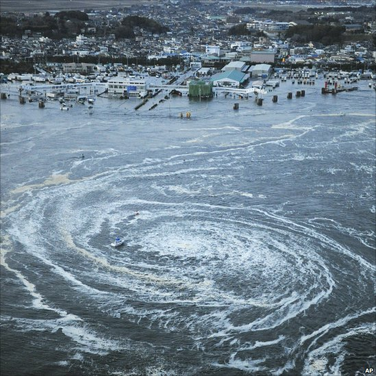 Tsunami swirls near a port in Oarai