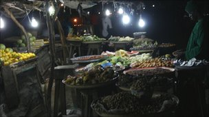 A market at night