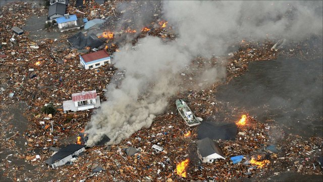 Damage after tsunami in Japan