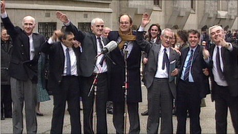 Chris Mullin (centre) with Birmingham Six following the successful appeal