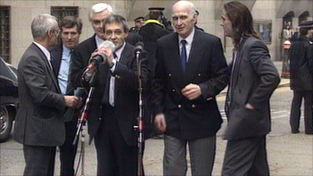 Birmingham Six outside Old Bailey