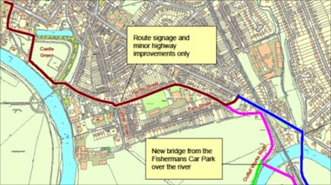 Route for new cycle path in Hereford